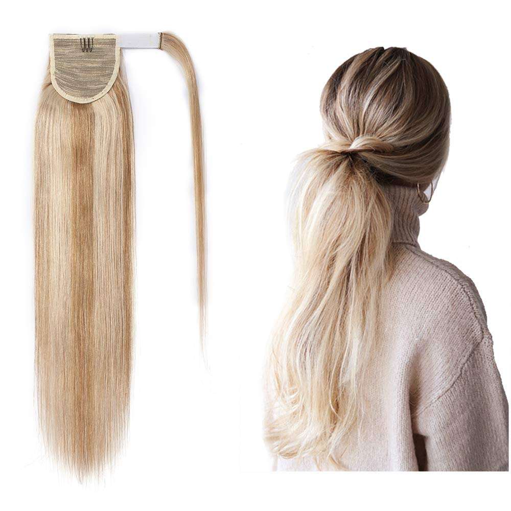 Ponytail Human Hair Extensions Real Hair Ponytail Extension Wrap Around Ponytail Hairpiece For Women Clip In Ponytail Remy Hair Straight Balayage Blonde Ponytail Extensions 18inch 90g #18P613