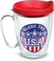 Tervis 1199017 Bless The USA Insulated Tumbler with Emblem and Red Lid, 16 oz Mug - Tritan, Clear