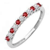 10K Gold Round Ruby And White Diamond Anniversary Stackable Wedding Band