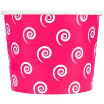 Valentine's Day Pink Paper Ice Cream Cups - 12 oz Swirls and Twirls Dessert Bowls - Perfect For Your Yummy Foods! Many Colors & Sizes - Frozen Dessert Supplies - 50 Count