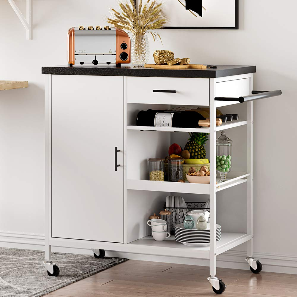 Hasuit Kitchen Island Cart with Wood Top,Home Bar Serving Cart,Rolling Utility Trolley with Drawer, Storage Cabinet, Shelves, Wine Bottle Rack, Towel Handle and Lockable Wheels (Black)