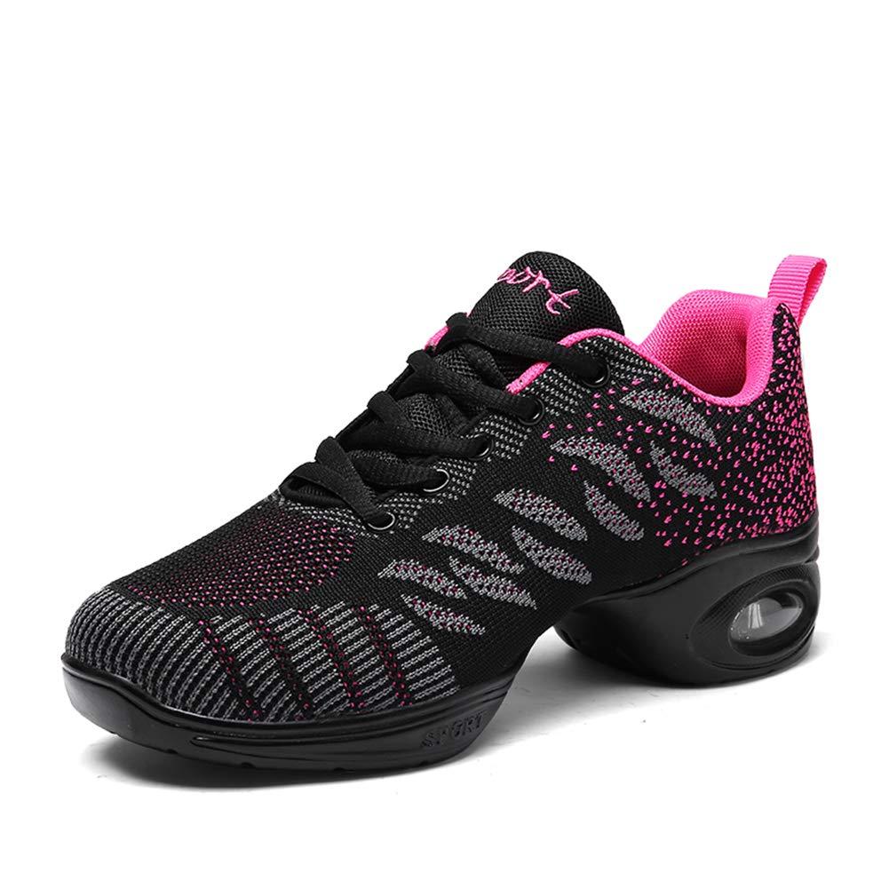 Z.SUO Women's Jazz Shoes Lace-up Sneakers - Breathable Air Cushion Lady Split Sole Athletic Walking Dance Shoes Platform