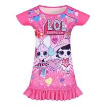 Girls Princess Nightgowns Toddler Pajamas Cartoon Print Little Girl Night Gowns Nightdress Nightwear Dress