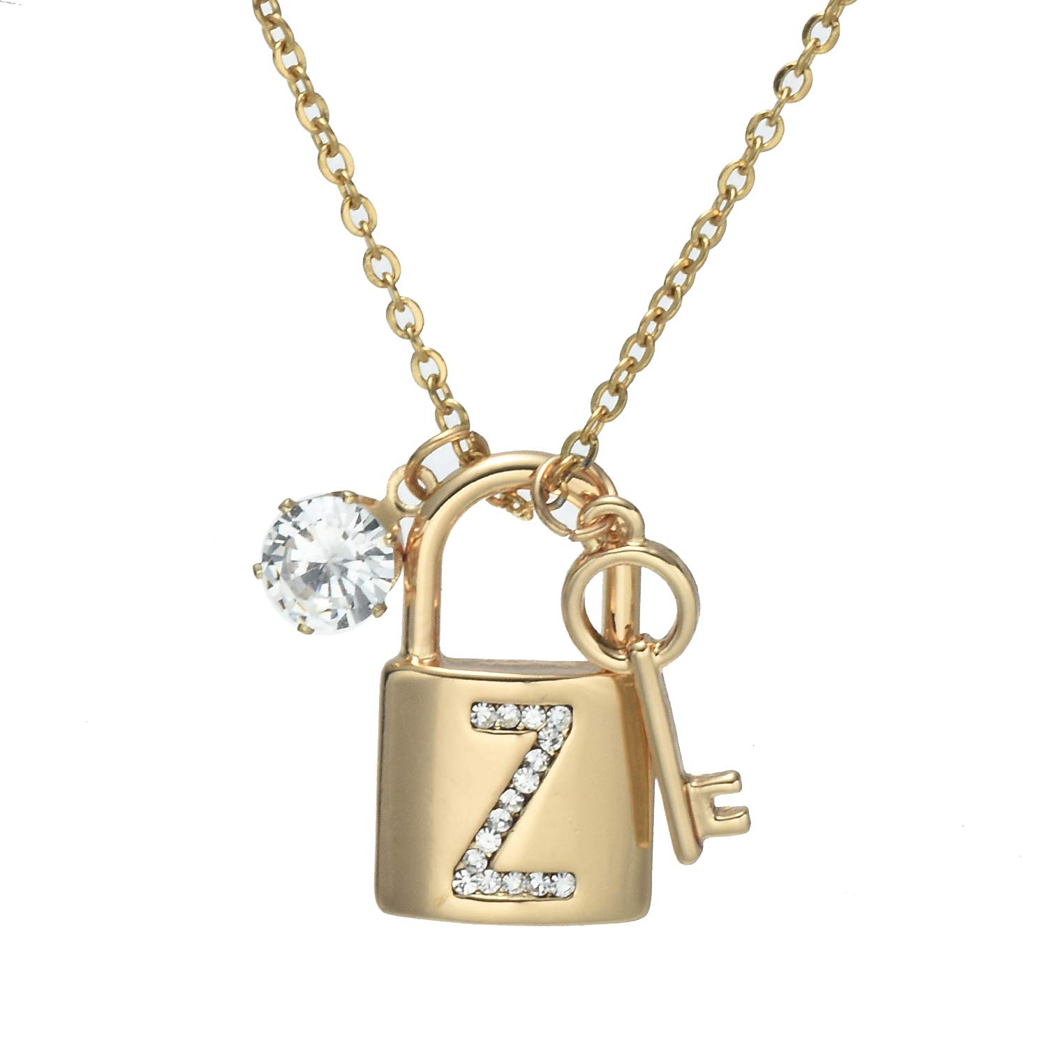 Onnea Fashion Gold Plated Letter Pendant Necklace A-Z Initial Necklace with Rhinestone Lock and Key Gift for Women Girls