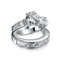 3CT Simple Round Solitaire Brilliant Cut AAA CZ Pave Band Engagement Wedding Ring Set For Women Sterling Silver