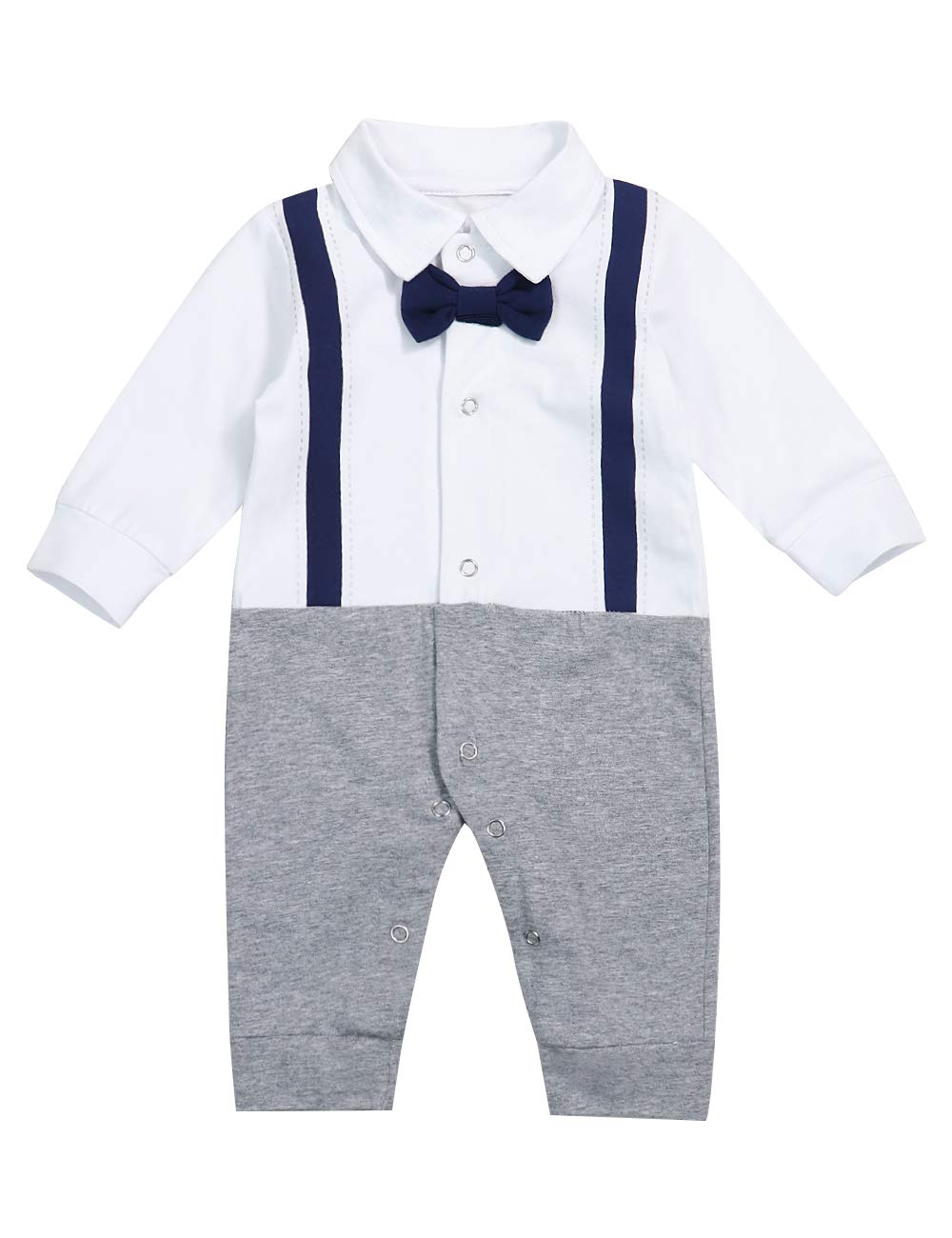 Yiner Newborn Baby Boy Gentleman Clothes Tuxedo Bow Tie Romper Jumpsuit Formal Outfits