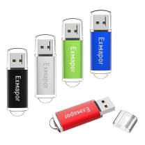 Exmapor 5PCS 8GB USB Flash Drive Bulk Storage Memory Stick Pen Drives with LED Indicator(Red/Black/Silver/Green/Blue)