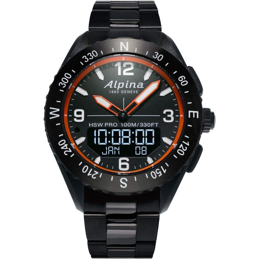 Alpina Men's AlpinerX Fiber Glass Swiss Quartz Sport Watch with Stainless Steel/Titanium Strap, Black, 22 (Model: AL-283LBO5AQ6B)