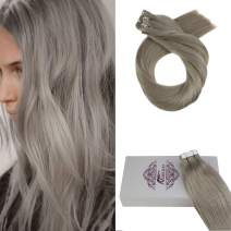 Moresoo 20 Inch Glue in Human Hair Extensions Remy Human Hair Grey Silver Color #66 Invisible Tape in Hair Seamless Skin Weft 20pcs/50g Tape Human Hair Extensions