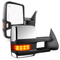 YITAMOTOR Chrome Tow Mirrors Power Heated LED Arrow Signals Backup Lights Compatible for 2003-2007 Chevy Silverado GMC Sierra, 2003-2006 Cadillac Escalade All Model, 2 Pack