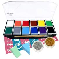 Face Paint Kit, Bowitzki 12 Vibrant Colors 2 Glitter 2 Brushes 40 Stencils 2 sponges,Non Toxic Hypoallergenic Water Based FDA Compliant Professional Halloween Makeup Painting Set for Kids