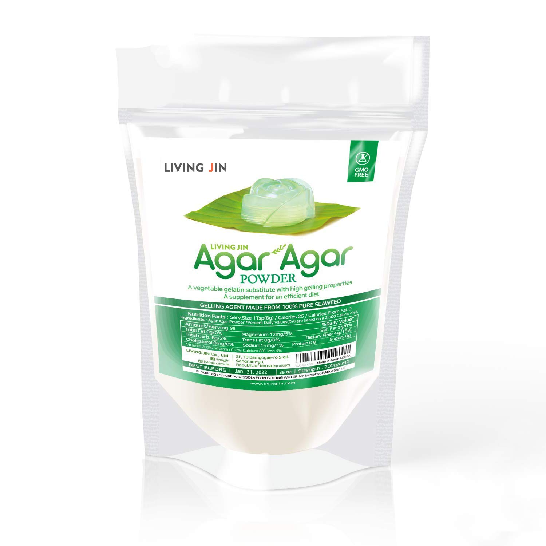 LIVING JIN Agar Agar Powder 28oz (or 4oz   12oz) : Vegetable Gelatin Powder Dietary Fiber [100% Natural Seaweed + Non GMO + VEGAN + VEGETARIAN + KOSHER + HALAL]