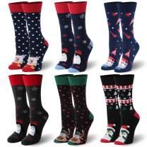 HUSO Christmas Socks, Unisex Funky Novelty Cartoon Holiday Crew Socks 4,6 Pairs