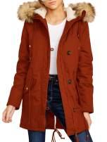 Niitawm Womens Long Hooded Parka Jackets Zip Up Drawstring Long Sleeve Winter Warm Faux Fur Plain Coats Trim