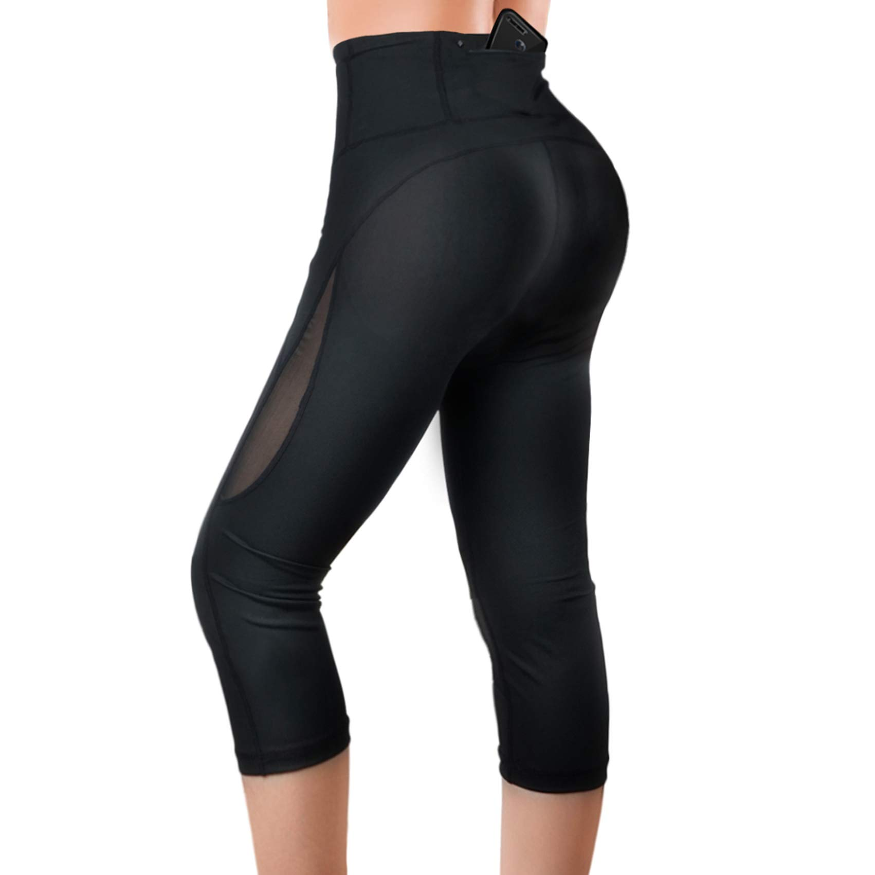 Rolewpy High Waist Out Pocket Capri Pants, Yoga Workout Leggings for Women Tummy Control, Ladies' Exercise Clothes Activewear