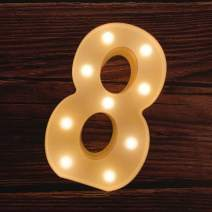 MUMUXI LED Marquee Number Lights Sign Light Up Marquee Number Letters Sign for Wedding Birthday Party Battery Powered Christmas Lamp Night Light Home Bar Decoration (8)