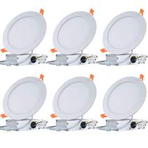12W 6 Inch Low Profile Ultra-Thin Recessed Ceiling Light with Junction Box, 6000K Daylight, Not Dimmable Can-Killer Downlight, 840lm 100W Eqv. ETL and Energy Star,Pack of 6