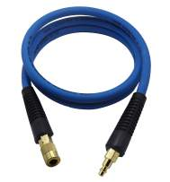 YOTOO Hybrid Lead in Air Hose 3/8-Inch by 6-Feet 300 PSI Heavy Duty, Lightweight, Kink Resistant, All-Weather Flexibility with Bend Restrictors, 1/4-Inch Industrial Quick Coupler and Plug, Blue