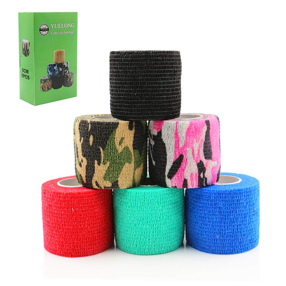 """Tattoo Grip Cover Wrap - Yuelong 6pcs 2""""x5 Yards Mixed Color Disposable Cohesive Tattoo Grip Tape Wrap Self-adhesive, Elastic Bandage Handle Grip Tube for Tattoo Machine Grip Accessories, Sports Tape"""