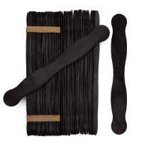 """Wooden Black 8"""" Fan Handles, Wedding Programs, Paint Mixing, Pack 200, Jumbo Craft Popsicle Sticks for Auction Bid Paddles, Wooden Wavy Flat Stems for Any DIY Crafting Supplies Kit, by Woodpeckers"""