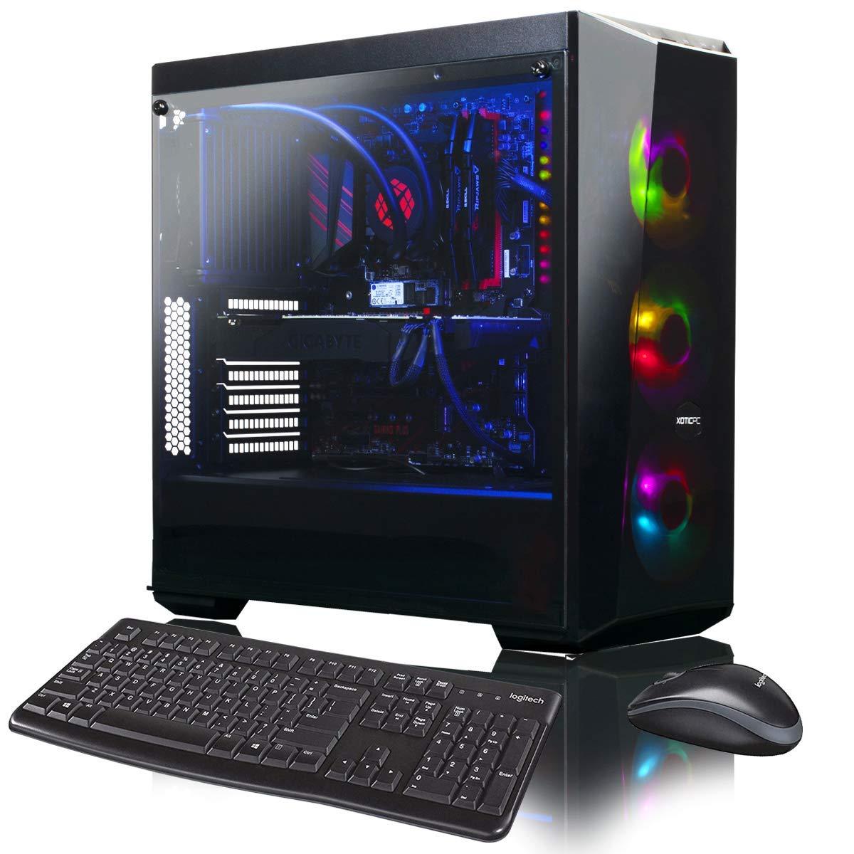 XOTIC Lite 5 (Intel 9th Gen i9-9900K 8-core 5.0GHz Turbo, 32GB DDR4 RAM, 256GB NVMe SSD + 2TB HDD, GTX 1660 6GB, Windows 10) Liquid Cooled Gaming Desktop PC
