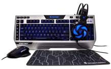 SportsBot SS302 4-in-1 LED Gaming Over-Ear Headset Headphone, Keyboard, Mouse & MousePad Combo Set w/ 6 Programmable Macro Keys, 3 Macro Modes, 40mm Speaker Driver, Microphone