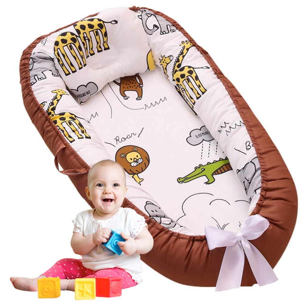 Brandream Baby Nest Baby Lounger Baby Bassinet for Bed - 100% Soft Cotton Sharing Cosleeping Baby Bed Premium Quality Portable Crib (Jungle)