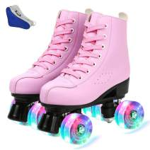 Comeon Women Roller Skates PU Leather High-top Roller Skates Four-Wheel Roller Skates Double Row Shiny Roller Skating for Indoor Outdoor
