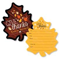 Big Dot of Happiness Give Thanks - Shaped Fill-in Invitations - Thanksgiving Party Invitation Cards with Envelopes - Set of 12
