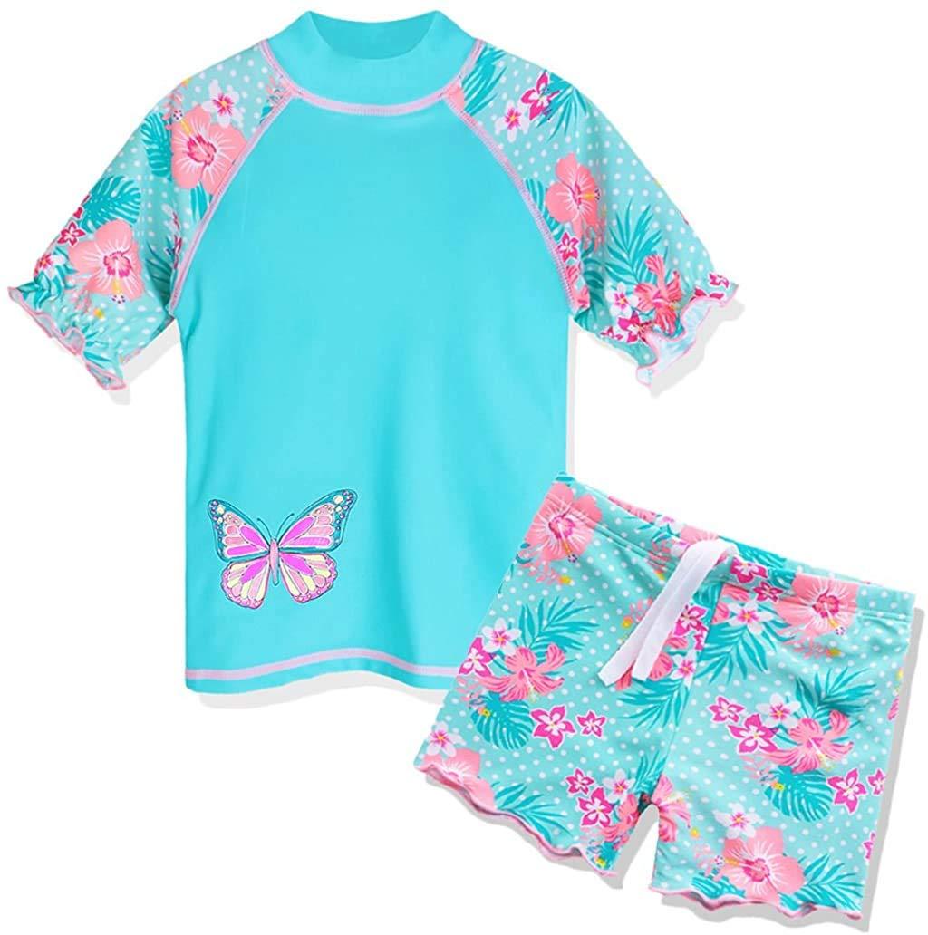 TFJH E Girls Two Piece Swimwear butterflyflower Dots Printed Swimsuit UPF 50+ UV 3-10Y