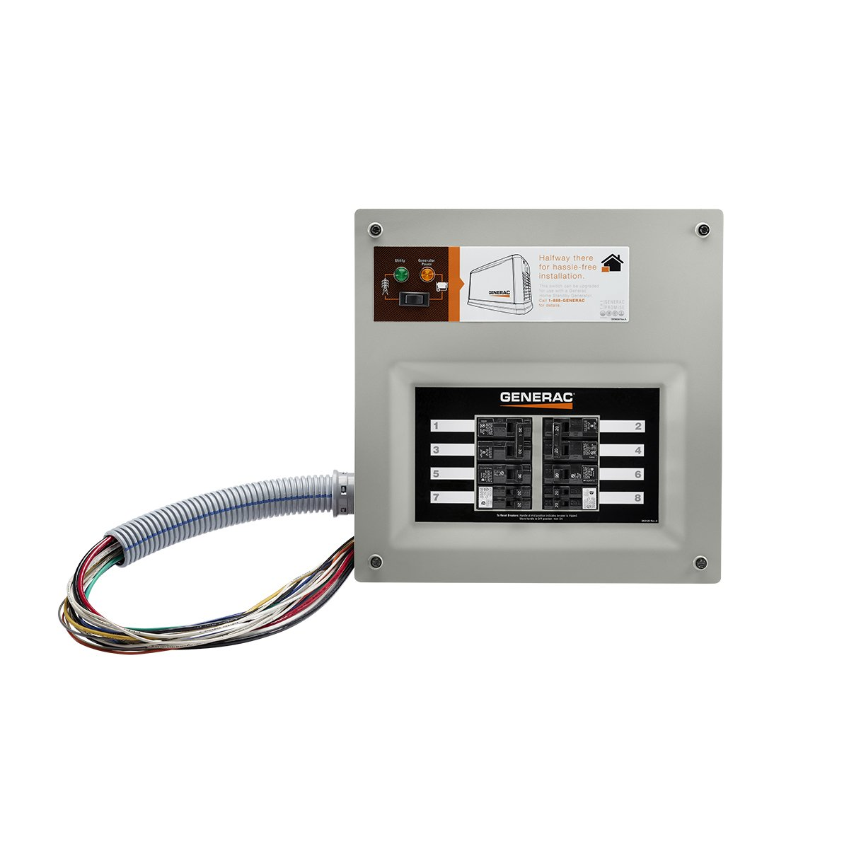 Generac 9854 HomeLink 50-Amp Indoor Pre-wired Upgradeable Manual Transfer Switch for 10-16 circuits