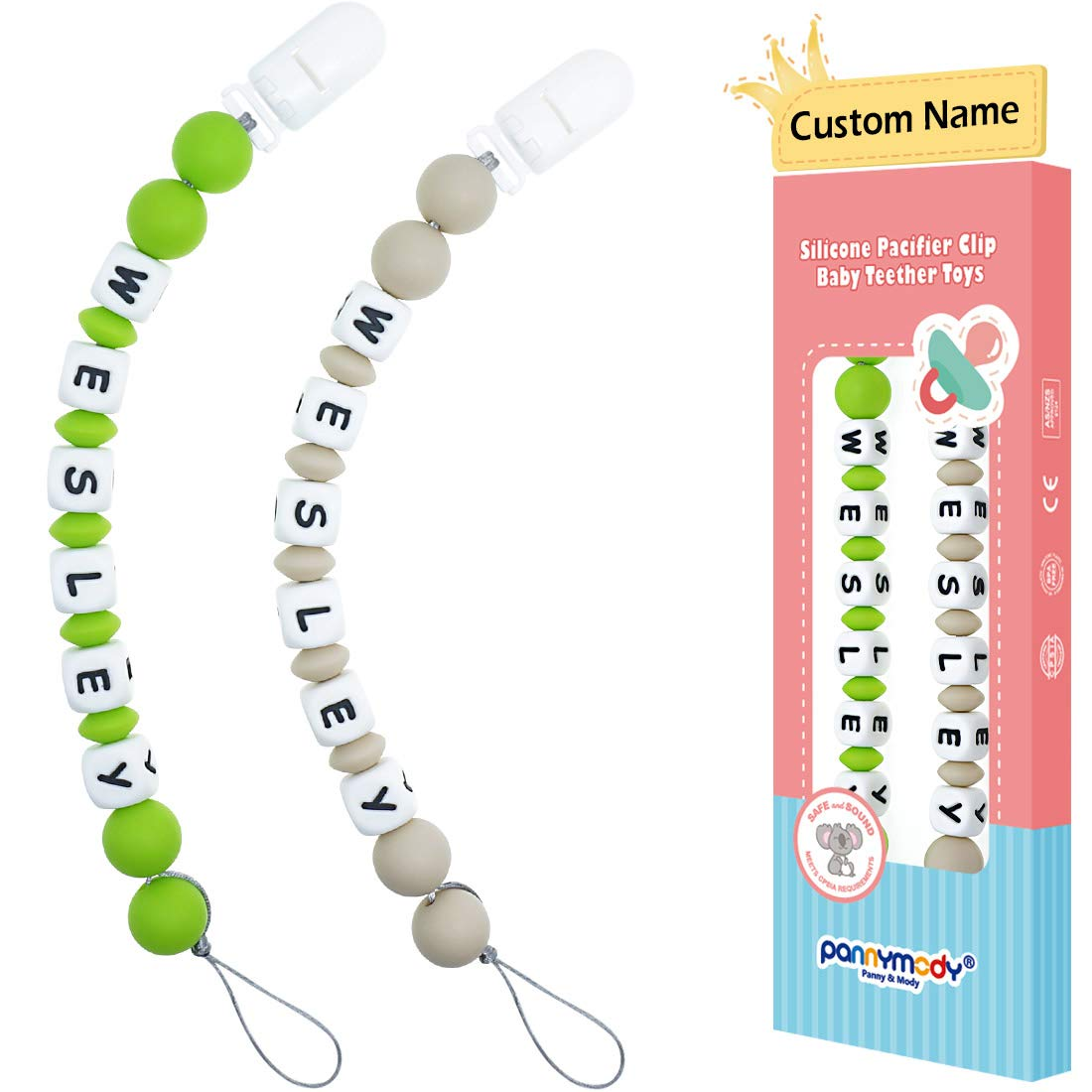 Panny & Mody Pacifier Clip Personalized Name, Custom Made Silicone Pacifier Clip with Name, Bite Beads Universal Soother Clip Teether Chew Toy Beads for Day Care Baby Shower Gift - 2 in 1