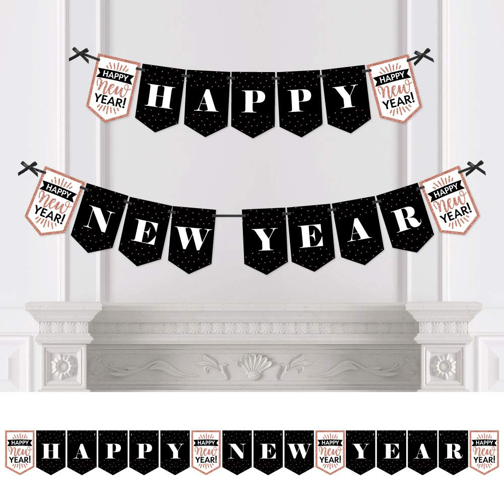Big Dot of Happiness Rose Gold Happy New Year - New Year's Eve Party Bunting Banner - Party Decorations - Happy New Year