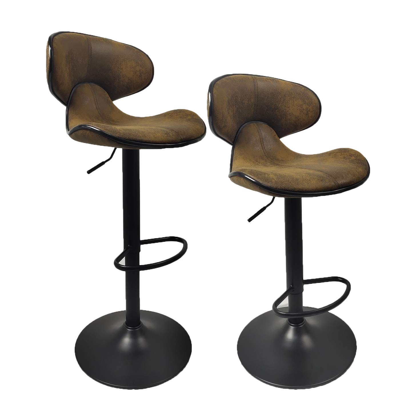 YEP HHO Adjustable Bar Stools,Set of 2 Dining Chairs with Back,Pub Kitchen Counter Height, Retro Brown (Brown)
