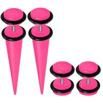 BodyJ4You Fake Plugs Kit, Fake Tapers and Fake Plugs Earrings 16 Gauge Studs Cheater 4 Pieces