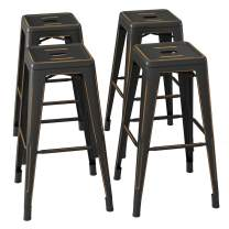 Bonzy Home Bar Stools Set of 4, 30 inch Distressed Designed Metal Barstools, Stackable Home Kitchen Backless Dining Stool, Indoor Outdoor Patio Bar Chair - Distressed Black Gold