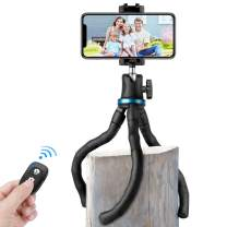 Flexible Phone Tripod, Aureday Adjustable Cell Phone Camera Travel Mini Tripod Stand with Wireless Remote Shutter & Universal Phone Mount Clip, Compatible with iPhone & Android Phone & Camera