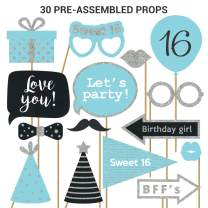 Fully Assembled Sweet 16 Birthday Photo Booth Props. 30 Piece Box Set of Blue, Silver, and Black Selfie Party Supplies and Decorations Kit with Real Glitter. Original 16th Bday Designs Need No DIY.
