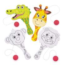 Baker Ross Jungle Animal Colour in Wooden Paddle Ball and Bat (Pack of 5) Fun Paddle Ball Game Perfect for Party Favours and Games