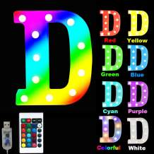 16 Color Changing Marquee Letter Light,Light Up Colorful 26 Alphabet Signs – Home Decor Name Signs – Battery Operated LED Remote Timer – Lighted Vintage Accessories & Decorations-D