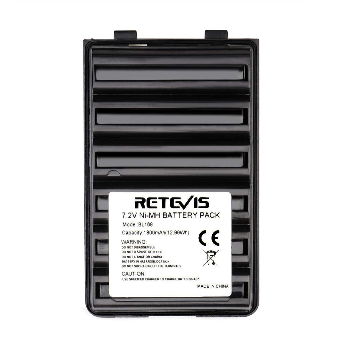 Retevis BL168 Two Way Radio Battery 7.2V 1800mAh Ni-MH Rechargeable Battery for Yaesu FT-60R VX-170 Vertex VX-150 VX-160 Walkie Talkies (1 Pack)