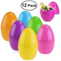 Unomor Jumbo Plastic Easter Eggs Containers for Filling Specific Treats, Easter Party Favor, Easter Eggs Hunt, Basket Stuffers Filler, Classroom Prize Supplies, Assorted Colors, Pack of 12