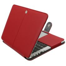 MOSISO MacBook Pro 15 inch Case, Premium PU Leather Book Folio Protective Stand Cover Sleeve Compatible with MacBook Pro 15 inch Retina (A1398, Version 2015/2014/2013/end 2012), Red