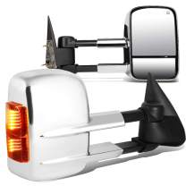 Pair Powered + Heated + LED Turn Signal Tow Towing Mirrors Replacement for Chevy Silverado Tahoe GMC Sierra Sierra 99-02