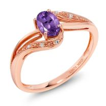 Gem Stone King 10K Rose Gold 0.39 Ct Purple Amethyst and Diamond Engagement Bypass Ring (Available 5,6,7,8,9)