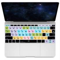 """HRH Avid Media Composer Hotkey Silicone Keyboard Cover Skin for MacBook New Pro 13"""" A1708 A1988 No Touch Bar 2018 2017 2016 Release and MacBook 12"""" A1534 (2015)&A1931(2018) USA Layout Protective Skin"""