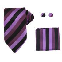 Y&G H5177 Purple Stripes Christmas Presents Silk Neckie Hanky Cufflink Excellent Box Set 3PT