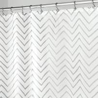 "mDesign Long Decorative Metallic Pattern, Water Repellent, Fabric Shower Curtain for Bathroom Showers and Stalls, Machine Washable - Chevron Zig-Zag Print, 72"" x 84"" - White/Silver"