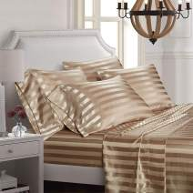 AiMay 6 Piece Bed Sheet Set Deep Pocket Luxury Rich Silk Satin Silky Super Soft Solid Color Stripes Hypoallergenic Reversible Stain-Resistant Wrinkle Free (Queen, Khaki)