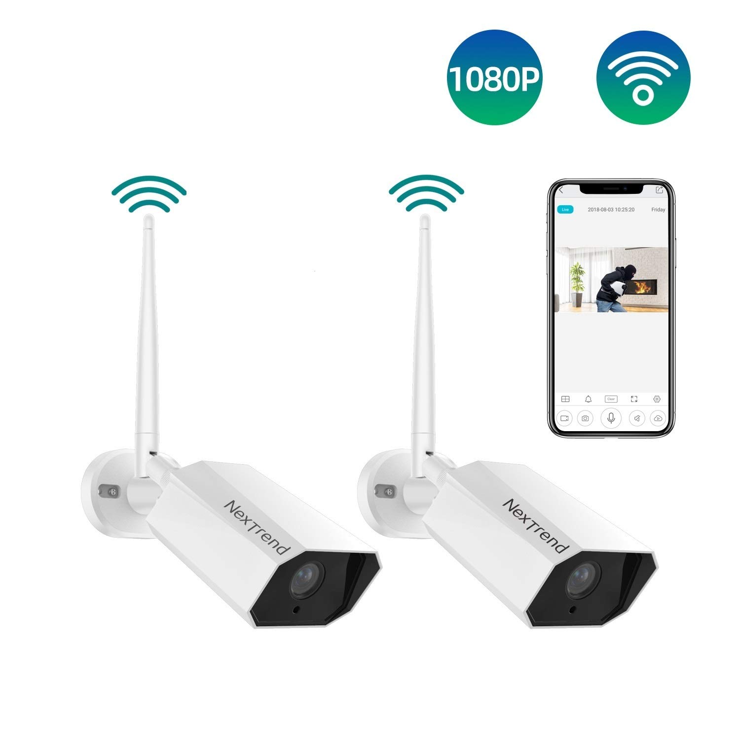 Wireless Security Camera Outdoor, NexTrend 1080P Full HD WiFi Surveillance Cameras with Night Vision Two Way Audio Motion Detection IP66 Waterproof IP Home Camera for Indoor Outdoors Free APP